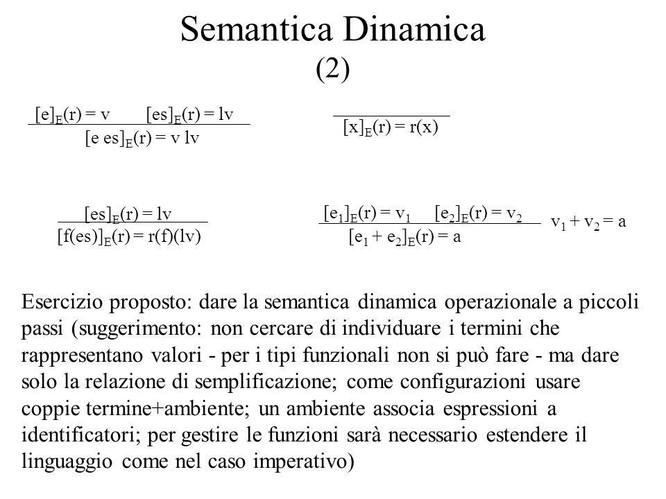 Semantica Dinamica (2) [e es]E(r) = v lv. [e]E(r) = v. [es]E(r) = lv. [x]E(r) = r(x) [f(es)]E(r) = r(f)(lv)